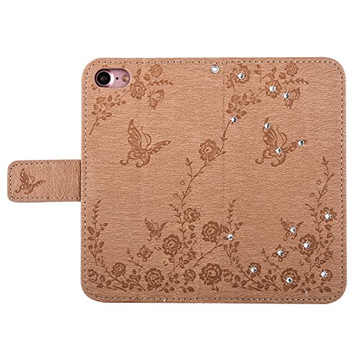 Qiaogle Telefon Case - PU Leder Wallet Schutzhülle Case für Apple iPhone 7 (4.7 Zoll) - LM06 / Hellblau Diamant Schmetterling Blume LM02 / Golden Diamant Schmetterling Blume