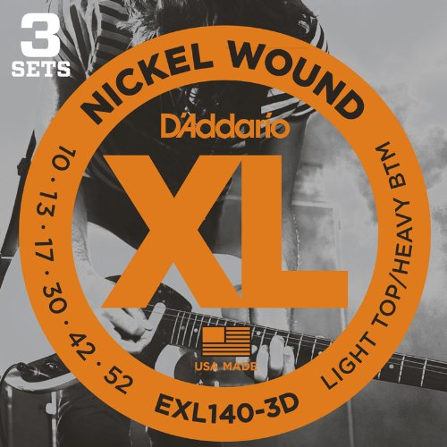 D'addario EXL140-3D Set di Corde Rivestite in Nickel per Chitarra Elettrica, Light Top/Heavy Bottom,