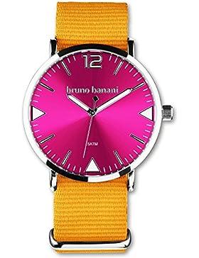 bruno banani BR30069 Cool Color Uhr Unisex Stoffband Metall 50m Analog orange pink