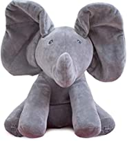 Peek A Boo Elephant Play Hide And Seek Stuffed Toy 38cm Music Elephant Plush Toy Kids Birthday Gift