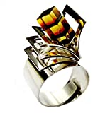 Bernstein Sterling Silber Designer Kitch Ring Grobe 61 (19.4)