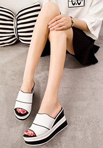 Frau Hang mit schweren Boden Sandalen und Pantoffeln Sommer Fischkopf hochhackige Sandalen Fuß Pantoffeln gesetzt White