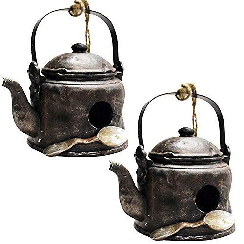 ASAB Teekanne zum Aufhängen, aus Polyharz, für Garten, Vogelhäuschen, Hotel, Nistkasten, für den Außenbereich, Garten, Wand, Baum, Wildvögel, 2er-Pack