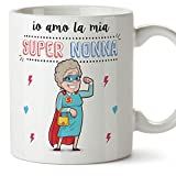 Mugffins Tazza Nonna Migliore del Mondo – io Amo la mia Super Nonna – Tazza in Ceramica da 350 ml Idea Regalo Festa della Nonna