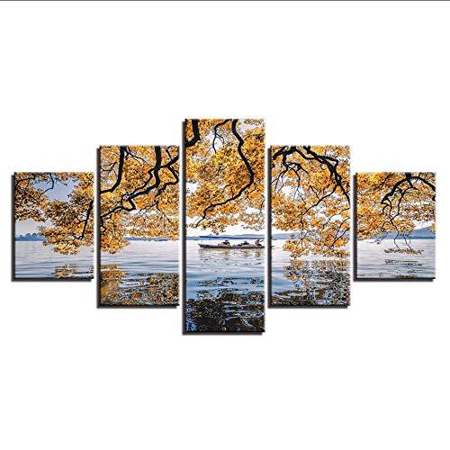 hhlwl HD Druckt Dekor Raum Moderne Leinwand 5 Stücke Baum Und Schiff Auf Dem Meer Malerei Wandkunst Modulare Meerblick Landschaft Rahmen-20x35/45/55cm-frame