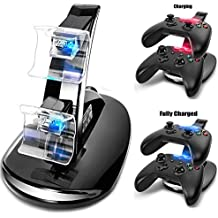 Koiiko - Base de carga USB con indicador de luz LED para mando de Playstation 4 PS4 negro