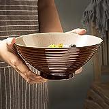 Japanischen Stil Große Keramik Suppe Ramen Nudelschale Obstsalat Pasta Schüssel Kreative Mischen Servierschale Mikrowelle Sicher Braun Thema