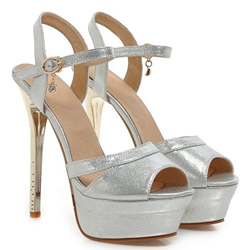 TAOFFEN Damen Fashion Plateau Peep-Toe Stiletto Sandalen Ankle Strap Wedding Schuhe Silber