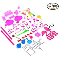 AOWA 127 Pcs Doll Accessories Bags Necklace Earings Combs Shoes Earings for Barbie Doll Kids Gift