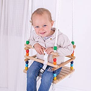 Bigjigs Toys My First Wooden Cradle Swing Seat - Suitable for 12-36 months