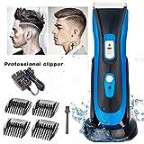 HLDWXN Tagliacapelli Tagliacapelli Professionale Cordless Hair Trimmer Barba Shaver Kit Taglio Capelli Elettrico, Tosatrice per Capelli Ricaricabile,Blue