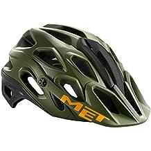 MET adultos casco para bicicleta de montaña Lupo, primavera/verano, unisex, color military green/Black/Orange, tamaño 59-62 cm