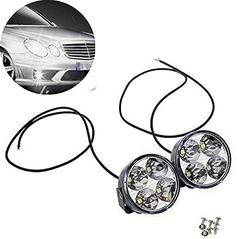 bbring 2x 4Runde LED-DRL Tagfahrlicht Driving Auto Nebel Licht Lampen