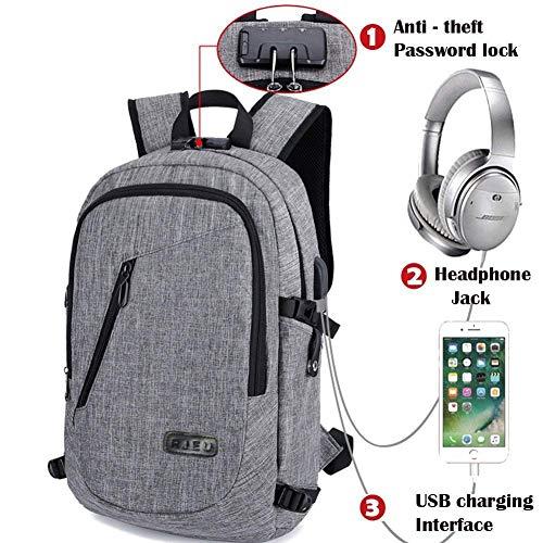 Rucksäcke Damen Herren, Wasserdichte Schulrucksäcke mit USB-Ladeschnittstelle und Anti Diebstahl Lock, Schulranzen für Männer Mädchen Teenager Jungen