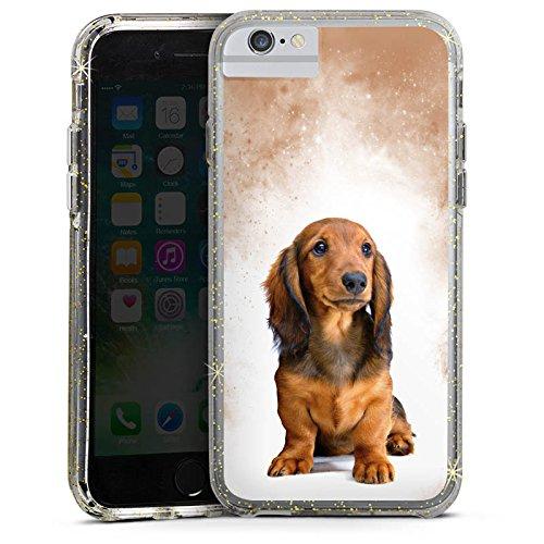 Apple iPhone 6 Bumper Hülle Bumper Case Glitzer Hülle Dackel Chien Dog Bumper Case Glitzer gold