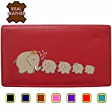 Elephant Family Klassek Real Leather Womans Purse Wallet 4 Calfs Sons Daughter (Red)