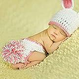 HAPPY ELEMENTS Neue Häkel Baby Häschen Kaninchen Hut und Windel Abdeckungs Satz Neugeborenes Foto Streifen Gestricktes Kostüm (Rosa)