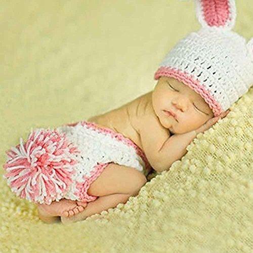 Häkel Baby Häschen Kaninchen Hut und Windel Abdeckungs Satz Neugeborenes Foto Streifen Gestricktes Kostüm (Rosa) (Häkeln Baby Kostüme)