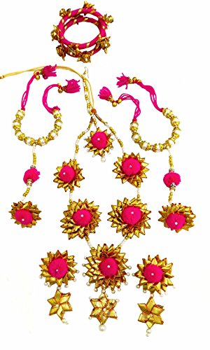 BLENT#63 Traditional Pink Gota Patti Fabric Jewellery Set for Women/Girls/Kids/Bride/Wedding/Haldi/Mehndi Full (9...