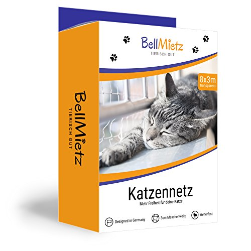 BellMietz Katzennetz für Balkon und Fenster | Extragroßes 8x3m Katzen-Schutznetz | Inkl. 25m Befestigungsseil | Balkonnetz mit GRATIS Ebook