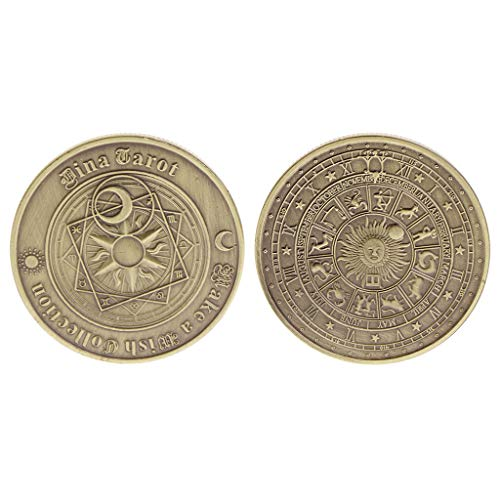 JIACUO Gedenkmünze Tarot Poker Sammlung Sammlerstück Souvenir Bronze Überzogene Legierung Münzen Kunsthandwerk Geschenke -