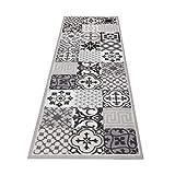 HOMEFACTO:RI Küchenläufer Brücke Läufer Kachel Fliesen Mosaik grau | Anti-Rutsch Waschbar, Größe:ca. 60 x 180 cm, Designs:Mosaik | grau schwarz - 3
