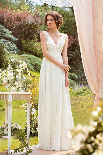 CoCogirls Braut Chiffon V-Ausschnitt Cap Sleeve Kleid Bohemien Strand Hochzeitskleider Brautkleider Abendkleid (36, Elfenbein) -