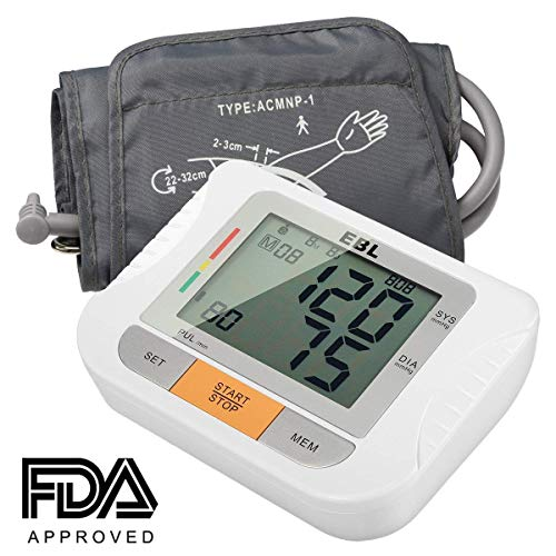 EBL automatisches und digitales Oberarm Blutdruckmessgerät mit Pulsmessung Funktion, XXL-LCD Display, Manschette, 2 x 90 Speicherplätze