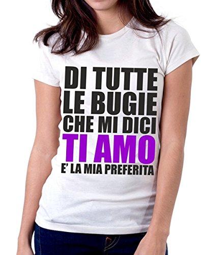 t-shirt frasi humor - di tutte le bugie che mi dici TI AMO è la mia preferita - S M L XL XXL maglietta by tshirteria bianca