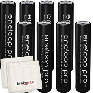 Kraftmax 8er-Pack Panasonic Eneloop PRO XX AAA / Micro Akkus - Neueste Generation - 950 mAh Hochleistungs Akku Batterien in Kraftmax Akkubox V5, 8er Pack