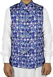 LaRainbow Mens Printed Bandhgala Modi Jacket-Blue (38)