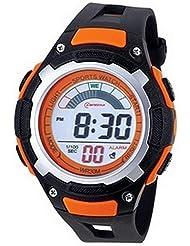 Montre digital Homme - bracelet Plastique Noir - Cadran Rond Fond Noir et Orange - Marque Montre Concept - MR8009