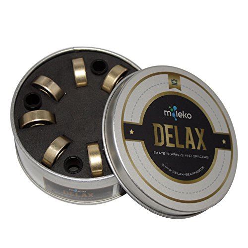 Delax Bearings Skateboard High Speed Kugellager 608ZZ / 608RS (8 Stück) inkl. Spacer (4 Stück) Schwarz/Gold zB. für Skateboards, Longboards, Inliner, Roller & Waveboard etc. (wie ABEC 5,7,9,11)