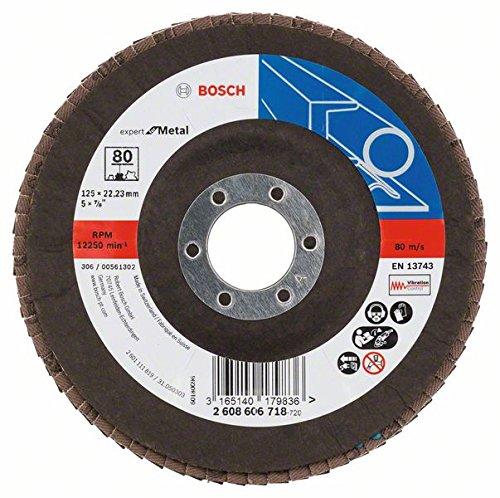 Bosch DIY Fächerschleifscheibe (für Winkelschleifer verschiedene Materialien, bombierte Ausführung, Ø 125 mm, Körnung 80)