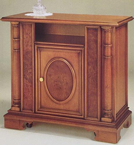 Zeroduezero - mobiletto 1 porta con ovalone e particolari in radica verniciato tinta noce