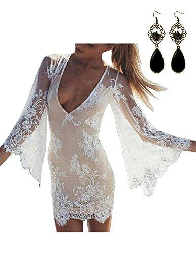Sitengle Donna Mini Vestito Sexy Scollo a V Vestito Lace Manica a 3/4 Dresses Ricamo Pizzo Slim Fit Bluse Protezione Solare Shirt Camicia Tops
