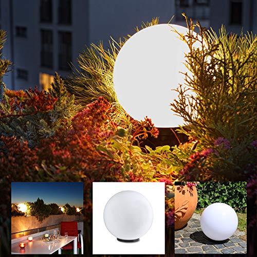 Kugelleuchte 30 cm Ø, weiße Gartenlampe, Außenleuchte, Deko für Innen & Außen, Gartenbeleuchtung, Gartenkugel für Energiesparlampen E27 & LED - 230 V & 15W, Kugellampe mit IP44, wasserfest & kratzfest