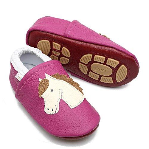 Liya\'s Hausschuhe Lederpuschen mit Teilgummisohle - #639 Pferd in pink