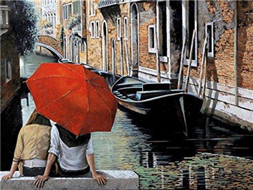 Shukqueen DIY Malen nach Zahlen für Erwachsene, DIY Ölgemälde Kit für Kinder Anfänger–Venedig Fluss Kanal 40,6x 50,8cm, Venice, Frameless,Just Canvas (Pinsel Kanal)