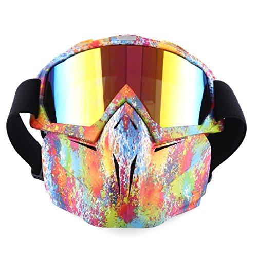 BOROK Lunette de Protection Tactique Casque de Moto Jeu à Tir Masque Facial Détachable pour Snowboard de Ski Motocross