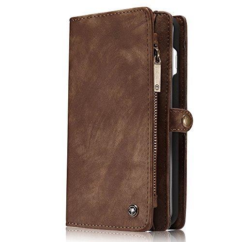 INFLATION iPhone/Samsung Leder Handytasche Case Hülle Geldbörse mit Kartenfach abnehmbar Magnet Handy Schutzhülle für iPhone 7 Plus in Braun