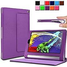 Infiland Lenovo Yoga Tablet 2 8 Funda Case-Folio PU Cuero Cascara Delgada con Soporte para Lenovo Yoga Tablet 2-8 20,32 cm (8 pulgadas) Tablet-PC Android y Windows Versión(con Auto Reposo / Activación Función)(Púrpura)