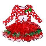 NNJXD Girls Christmas Carnival Disfraz de Santa Claus Fiesta roja Vestido de Princesa Tamaño(100) 3-4 años Rojo