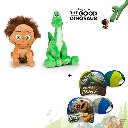 The Good Dinosaur - Set 2 plüsch Qualität Super Soft - Spot Das Kind 15cm + Arlo 19cm + 2 Kappe 65% Baumwolle 35% Polyester