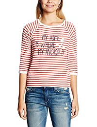 TOM TAILOR Denim Damen Sweatshirt Striped Sweat with Artwork