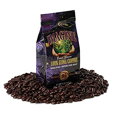 Kona Coffee Beans by Imagine - 100% Kona Hawaii - Medium Dark Roast Whole Bean 4 oz Bag by Imagine