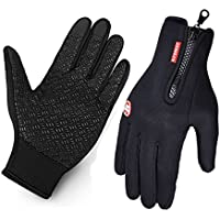 Vdealen Cycling Gloves for Man and Women, Touchscreen Gloves Winter Warm Tech Glove for Smart Phone Texting with Non-slip Silicone Gel - Thermal Cotton - Windproof for Running, Driving