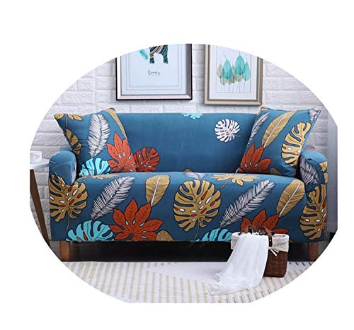 Tropical Leaves Print Sofa Cover Four Seasons Elastic Slip-Resistant Tight Wrap Slipcover 1/2/3/4-Seater color03 2pcs Cushion Cover