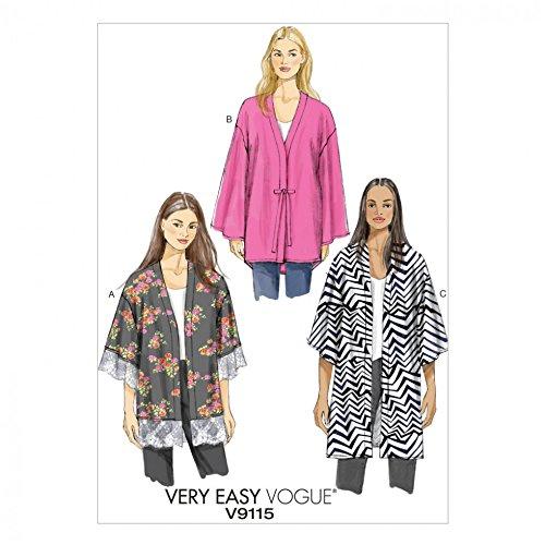 Vogue Damen Einfache Schnittmuster 9115sehr Loose Fit Unline Kimono Jacke + Gratis Minerva Crafts Craft Guide