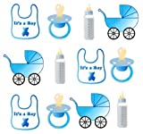 PRE-CUT IT'S A BOY BABY SHOWER EDIBLE RICE / WAFER PAPER CUP CAKE TOPPERS PARTY DECORATION by Children